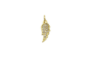 Gold Micro Pave Angel Wing Charm