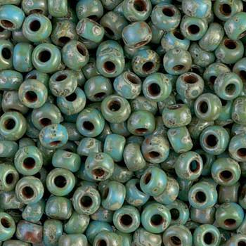 Size 6 Miyuki Seed Beads -- 4514 Picasso Turquoise