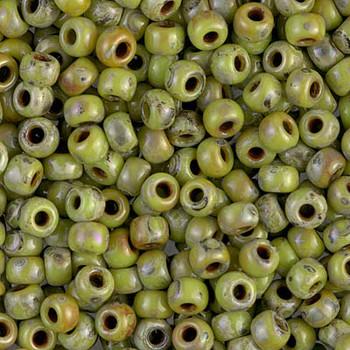 Size 6 Miyuki Seed Beads -- 4515 Picasso Chartreuse