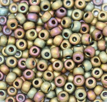 Size 6 Miyuki Seed Beads -- F463K Metallic Khaki Iris Matte