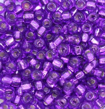 Size 6 Miyuki Seed Beads -- 27ST Bright purple / Silver Lined