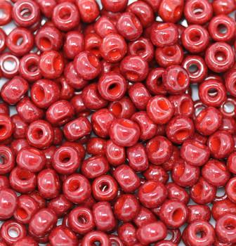 Size 6 Miyuki Seed Beads -- 407A Opaque Brick Red