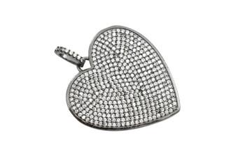 Gunmetal Micro Pave Filled Heart Pendant
