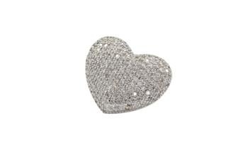 Silver Micro Pave Heart Bolo Tie Clasp