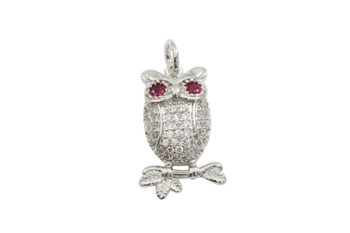 Silver Micro Pave Owl Charm