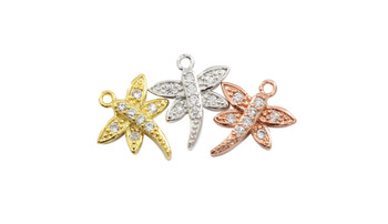Silver Micro Pave Dragonfly Charm