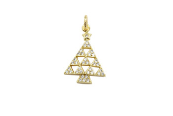 Gold Micro Pave Geometric Christmas Tree Charm