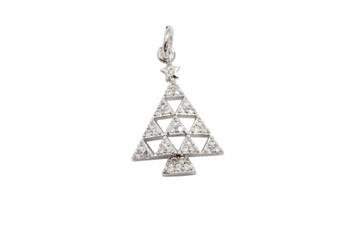Silver Micro Pave Geometric Christmas Tree Charm