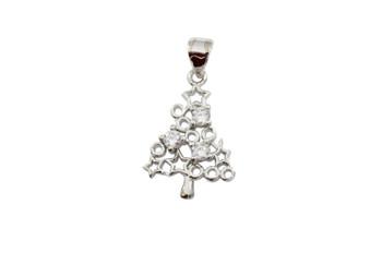 Silver Micro Pave Christmas Star Tree Charm