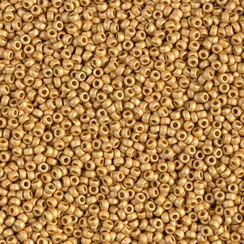 Size 15 Miyuki Seed Beads -- 4202F Duracoat Galvanized Gold Matte