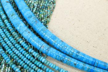 Kingman Turquoise Polished 4-9mm Graduated Heishe
