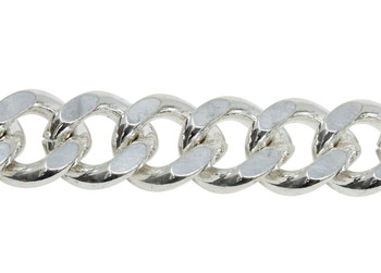 Silver 12mm x 10mm Large Curb Chain - Sold By 6 Inches
