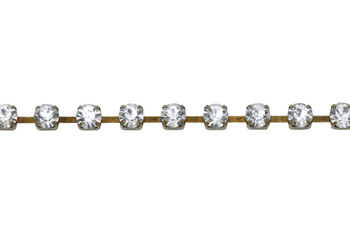 Antique Brass 4mm Crystal Rhinestone Cup Chain - Sold By 6 Inches