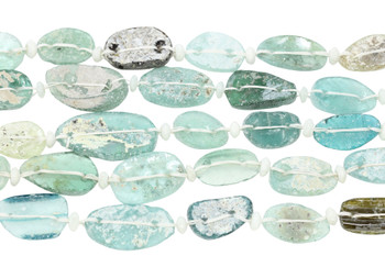 Roman Glass Natural 18-30mm Oval Coin
