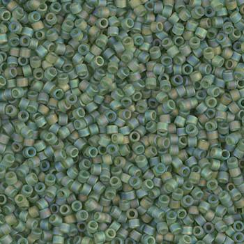 Delicas Size 11 Miyuki Seed Beads -- 1282 Transparent Olive AB Matte