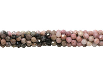 Rhodonite Polished 4mm Faceted Round - Banded