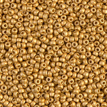 Size 11 Miyuki Seed Beads -- 4202F Duracoat Galvanized Gold Matte