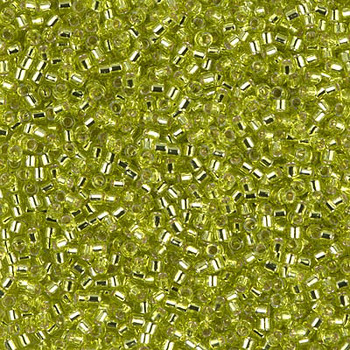 Delicas Size 11 Miyuki Seed Beads -- 147 Chartreuse / Silver Lined