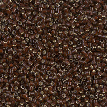 Delicas Size 11 Miyuki Seed Beads -- 1684 Glazed Dark Rootbeer / Silver Lined