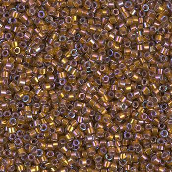 Delicas Size 11 Miyuki Seed Beads -- 1691 Glazed Dark Saffron AB / Silver Lined
