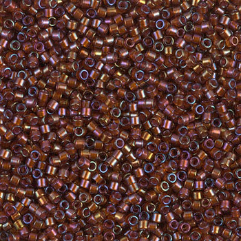 Delicas Size 11 Miyuki Seed Beads -- 1750 Root Beer AB / Sparkle Beige Lined