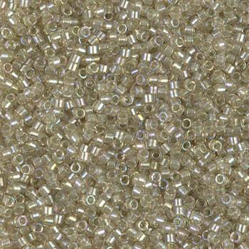 Delicas Size 11 Miyuki Seed Beads -- 1766 Light Tea Rose AB / Sparkle Celery Lined