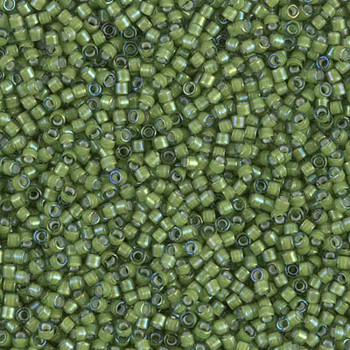 Delicas Size 11 Miyuki Seed Beads -- 1786 Light Green / White Lined