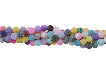 Cracked Agate Dyed Multi Color Matte 6mm Round