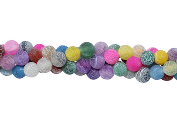 Cracked Agate Dyed Multi Color Matte 8mm Round