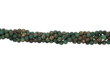 Tibetan Style - Green / Brown - Agate Matte 8mm Round