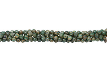 Tibetan Style - Green / Brown - Agate Polished 8mm Round