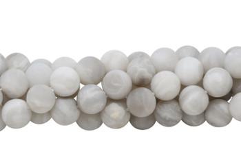White Crazy Lace Agate Matte 10mm Round