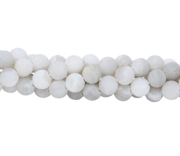 White Crazy Lace Agate Matte 8mm Round - Large Hole
