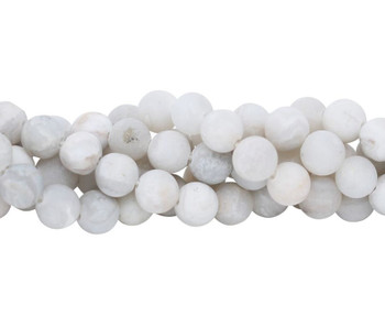 White Crazy Lace Agate Matte 10mm Round - Large Hole