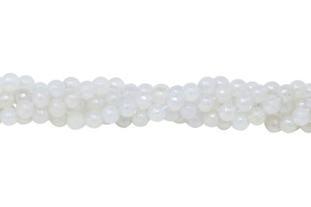 White Agate Polished 6mm Faceted Round AB