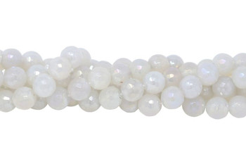 White Agate Polished 12mm Faceted Round AB