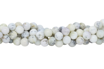 White Dendritic Agate Polished 10mm Round
