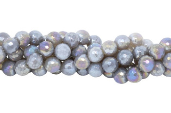 Grey Agate Polished 12mm Faceted Round AB