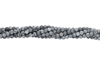 Grey Crazy Lace Agate Matte 4mm Round
