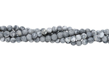 Grey Crazy Lace Agate Matte 6mm Round