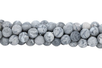 Grey Crazy Lace Agate Matte 10mm Round