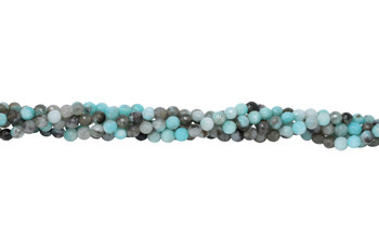 Amazonite Black Madagascar Polished 6mm Faceted Round