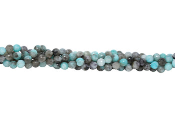 Amazonite Black Madagascar Polished 8mm Faceted Round