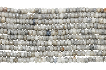 Corundum Grey Tones Polished 3mm Faceted Rondel