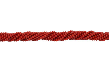 Red Coral Dyed Polished 3mm Round