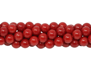 Red Coral Dyed Polished 6mm Round