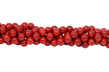 Red Coral Dyed Polished 8mm Round