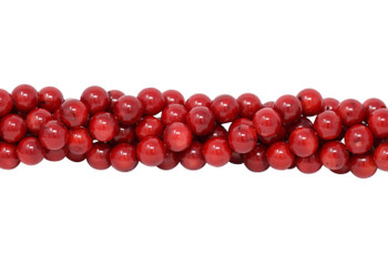 Red Coral Dyed Polished 10mm Round