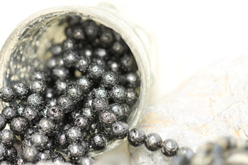 Lava Rock Gunmetal Plated 8mm Round