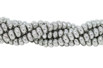 Lava Rock Silver Plated 10x6mm Rondel